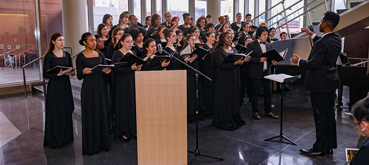 Led by faculty conductors, our choirs make appearances all around campus.