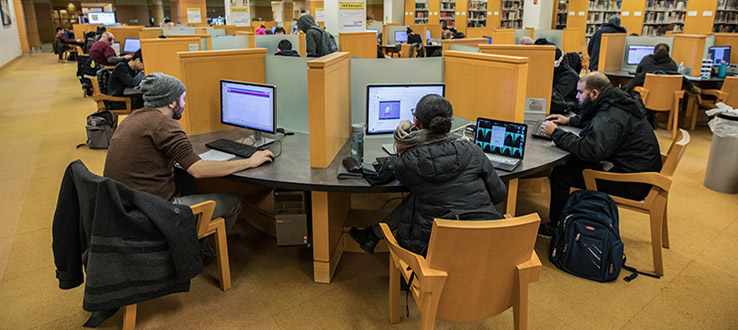 Our students conduct much of their research using the hundreds of computers in our library.