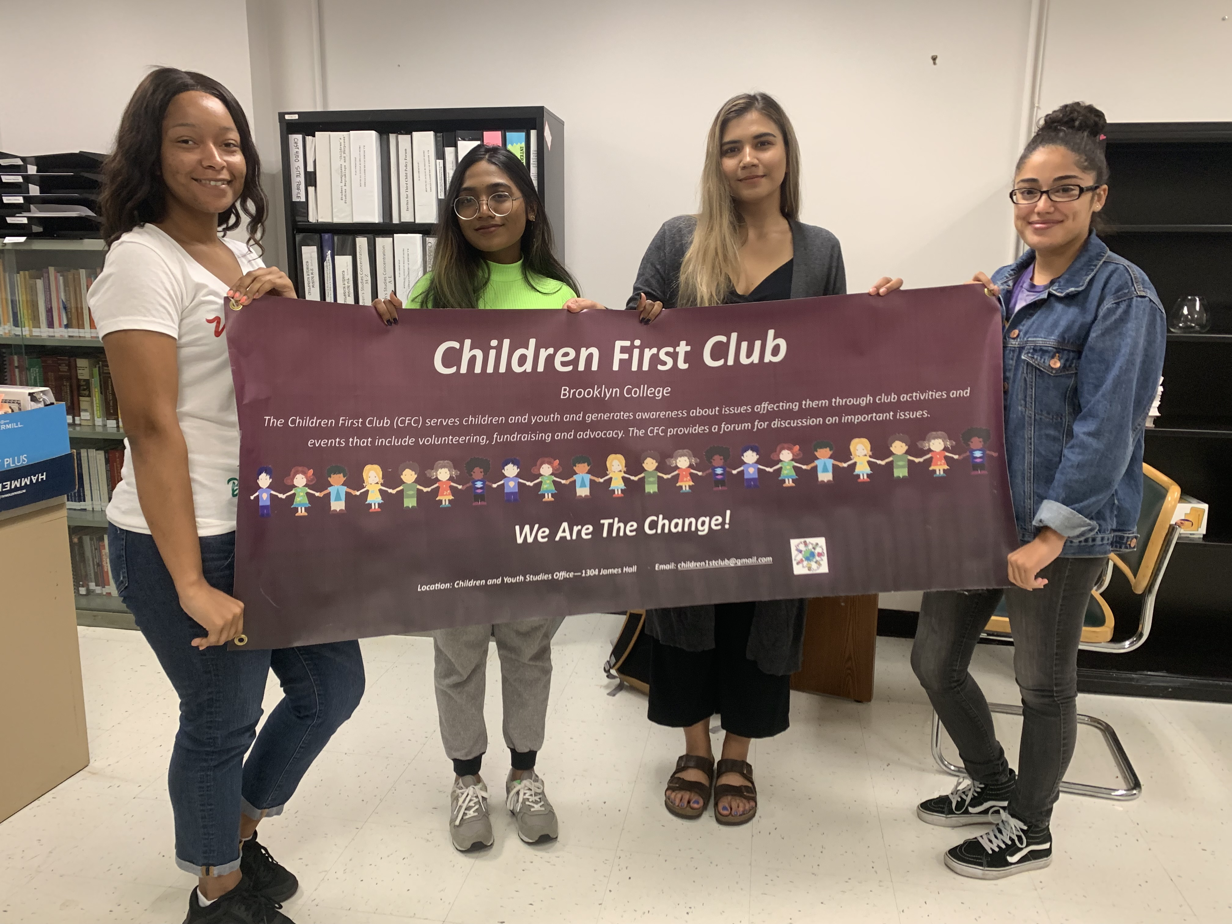 Children First Club Members: Zekiiyah (Vice President & Club Connector), Parapar (Treasurer), Dayana (President), and Jacqueline (Secretary)
