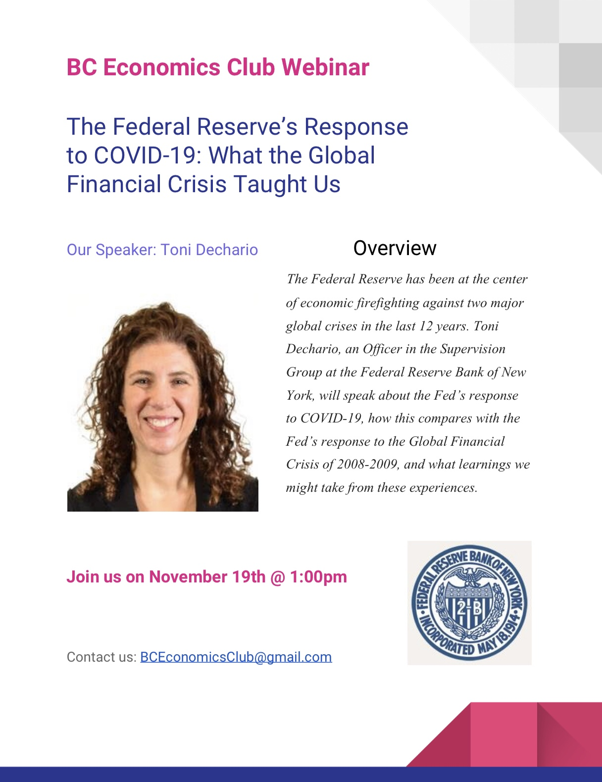 Webinar - The Federal Reserve's Response to COVID-19: What the Global Financial Crisis Taught Us with Toni Dechario