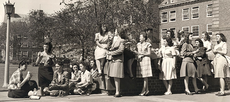 Even in 1945, our students loved to congregate on the Quad.