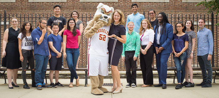 Buster the Bulldog makes his debut at the 2016 Convocation with President Anderson and members of Student Government.