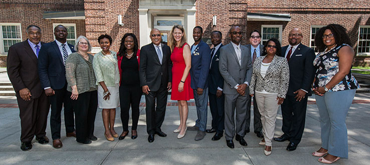 President Anderson with government officials and college administrators at the opening ceremony for the CUNY Haitian Studies Institute.
