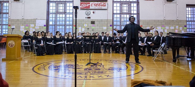 February 2018: The John Hope Franklin Memorial Day Freedom Concert featured the Brooklyn College Symphonic Choir, Conservatory Singers, and the Glee Club.