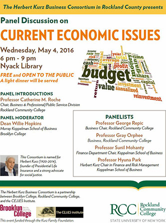 <p>Poster for <em>The Herbert Kurz Business Consortium in Rockland County</em> panel discussion.</p>