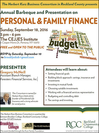 <p>The Herbert Kurz Business Consortium in Rockland County presents Annual Barbeque and Presentation on Personal and Family Finance</p>
