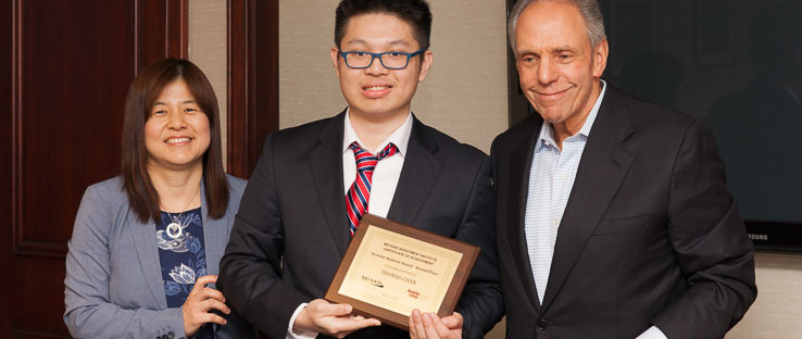 1<p>Brooklyn College senior Thomas Chan won the Second Prize of the MDSII Security Analysis Awards on May 24, 2017 and received a $1,000 scholarship.</p>