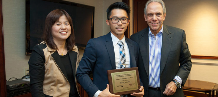 Brooklyn College senior Zhijun (Lexis) Xia won the First Prize of the MDSII Security Analysis Awards on December 6, 2017, and received a $2,000 scholarship.