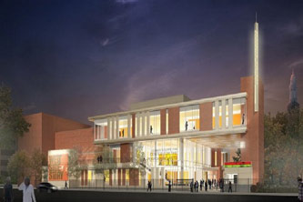 <p>Artist's rendering of the Tow Center for the Performing Arts.</p>