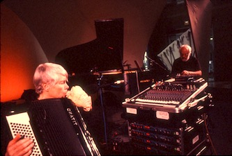 <p>Pauline Oliveros and David Gamper.  Photo by Gisela Gamper. </p>