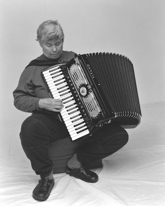 <p>Pauline Oliveros.  Photo by Gisela Gamper. </p>
