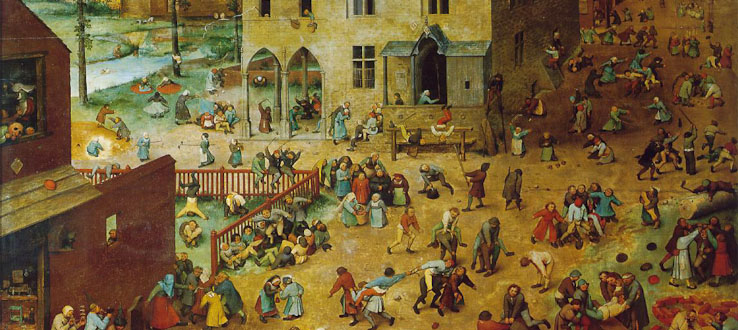 Children's Games by Pieter Bruegel the Elder, 1560. Exhibited at the Kunsthistorisches Museum in Vienna, Austria.