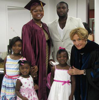 Kizzy Ann Levers and her family, with Professor Gertrud Lenzer.  Kizzy received her B.A. in Children and Youth Studies in 2011.  She currently works as a Case Planner at Catholic Charities East New York Family Support Center.