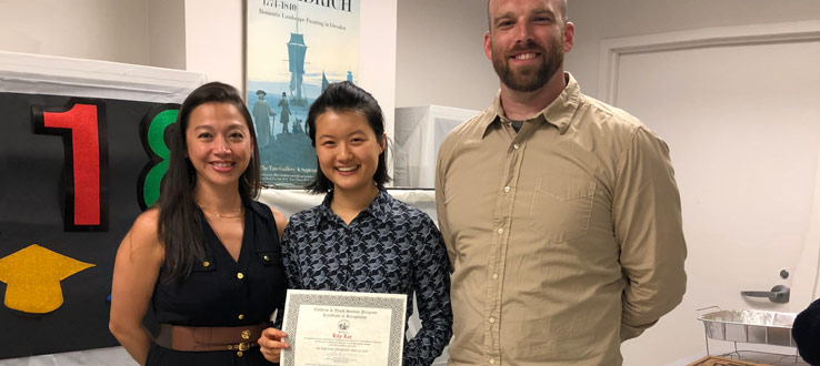 CHST Assistant Professor Erika Niwa and Director Jeremy Porter present Lily Lee the Certificate of Recognition Senior Award.