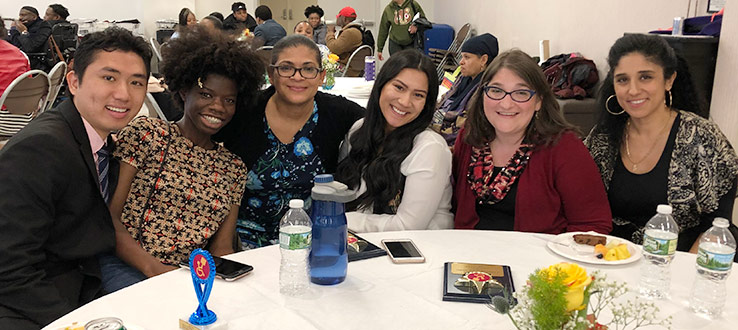 CHST students, alumna, staff and faculty receive recognition at the SOFEDUP Club Awards Dinner. L to R: Alan Pan, Breyana Esterene, Jennifer De La Cruz, Victoria Martinez, Melissa Morgenlander and Angie Wassif