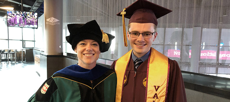 CHST Director Dr. Katie Hejtmanek with Valedictorian Salvatore Casto