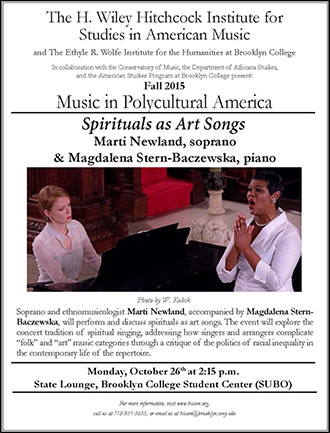 <p>Poster for Spirituals as Art Songs. Inset Image: Photo by W. Kubik.</p>