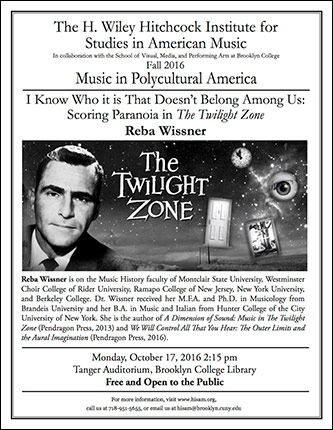 <p>Poster for I Know Who it is That Doesn't Belong Among Us: Scoring Paranoia in <em>The Twilight Zone</em></p>