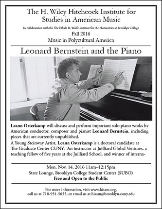 <p>Poster for Leonard Bernstein and the Piano</p>