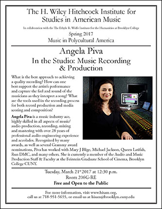 <p>Poster for Angela Piva - In the Studio: Music Recording &amp; Production</p>
