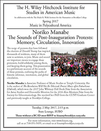 <p>Poster for The Sounds of Post-Inauguration Protests: Memory, Circulation, Innovation</p>