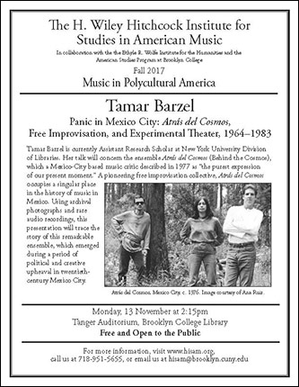 <p>Poster for Music in Polycultural America - <em>Panic in Mexico City: </em>Atr&aacute;s del Cosmos<em>, Free Improvisation, and Experimental Theater, 1964–1983</em></p>