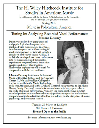 <p>Poster for Music in Polycultural America - <em>Tuning In: Analyzing Recorded Vocal Performances</em></p>