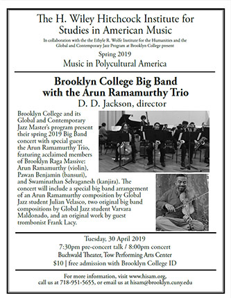 <p>Poster for Music in Polycultural America - <em>Brooklyn College Big Band with the Arun Ramamurthy Trio</em></p>