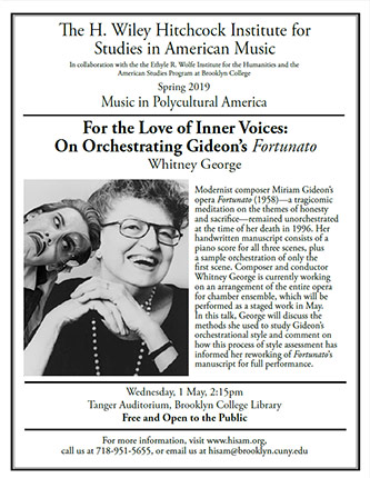 <p>Poster for Music in Polycultural America - <em>For the Love of Inner Voices: On Orchestrating Gideon's </em>Fortunato</p>