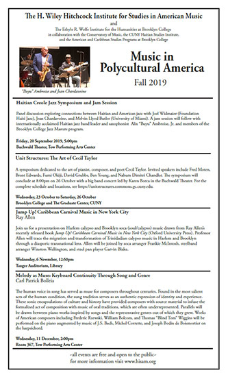 Poster for <em>Music in Polycultural America</em>, Fall 2019
