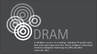 <p>Logo for DRAM, formally the Database of Recorded American Music <a href=