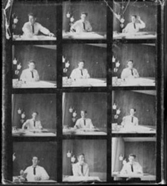 <p>John Cage, compiling materials for <em>Silence</em> (1961), Wesleyan University, ca. 1960-1 Photographer: Unknown Courtesy of the John Cage Trust</p>
