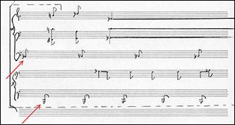 <p>Example 3: Nancarrow, <em>Study No. 41B</em>, score excerpt, page B8, system 2.</p>