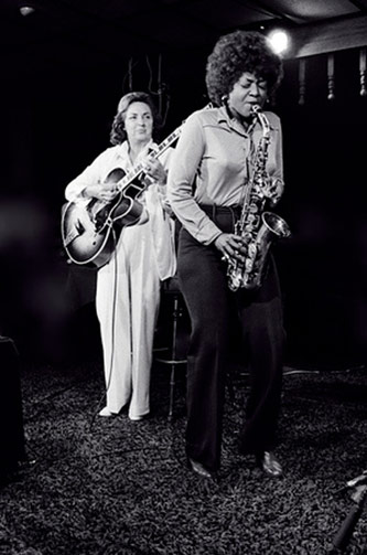 <p>Vi Redd (saxophone) and Mary Osborne (guitar) June 1977, Photo courtesy of <a href=