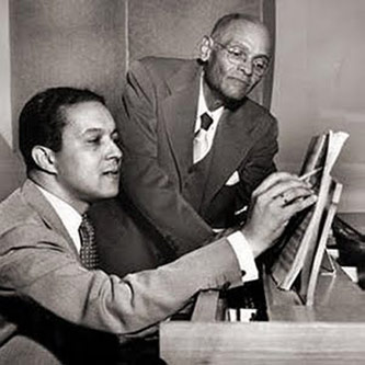 <p>Everett Lee with Reverend J. C. Olden, Civil Rights leader and father of Lee's first wife, Sylvia Olden Lee, Courtesy of The Courier-Journal and <a href=