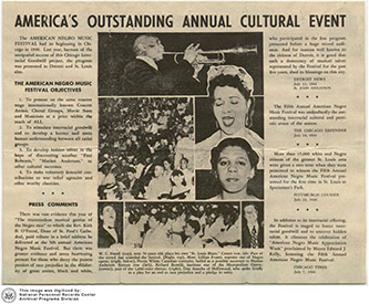 <p>American Negro Music Festival: America's Outstanding Cultural Event, Chicago Times, 7 July 1944, National Personnel Records Center, Archival Programs Division.</p>