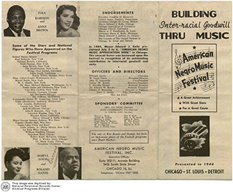 <p>American Negro Music Festival: 1944 Program, National Personnel Records Center, Archival Programs Division.</p>