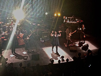<p>D'Angelo and the Vanguard perform at the Apollo Theatre, 7 February 2015. Photo by author.</p>