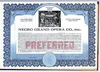 <p>Negro Grand Opera Co. Stock. Preferred Stock $30,000; Common Stock $20,000; Capital Stock $50,000; Shares $100 each (1920). H. Lawrence Freeman Papers, Series VI, Box 51.</p>