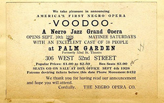 <p>Postcard-sized advertisement for <em>Voodoo</em> (1928), H. Lawrence Freeman Papers, Series VIII, Box 59.</p>