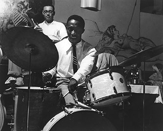 Art Blakey and the Jazz Messengers in performance. Photo by Dale Parent, courtesy of the Art Blakey Estate