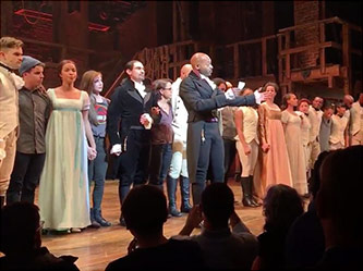 <p>The Cast of <em>Hamilton</em> addresses Vice-President Elect Mike Pence, 18 November 2016</p>
