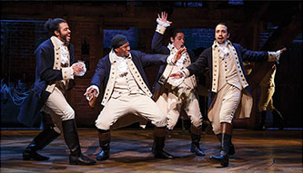<p>Lin-Manuel Miranda (right) in <em>Hamilton</em>. Photo: Joan Marcus</p>