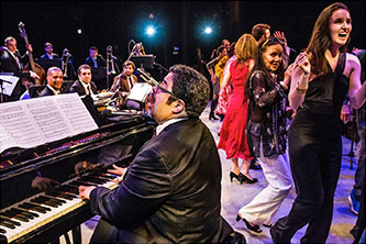 "<p>The audience at New York's Symphony Space joined Arturo O'Farrill and the Afro Latin Jazz Orchestra onstage during the last piece of the ""M&uacute;sica Nueva 7"" concert on 2 May 2015. Photo by David Garton</p>"