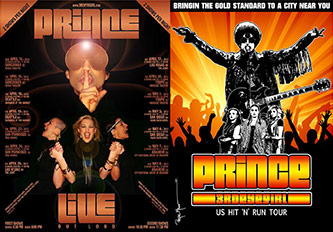 <p>Concert posters for Prince's Live Out Loud 2013 and Hit'N'Run 2014-15 tours</p>
