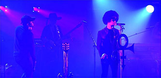 <p>Kendrick Lamar, 3rdeyegirl guitarist Donna Grantis, and Prince perform at Paisley Park, 30 September 2014</p>