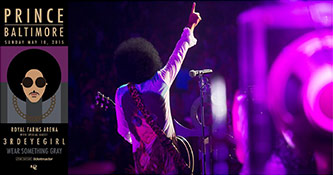 <p>Rally 4 Peace concert poster / Prince performing in Baltimore, 10 May 2015. Courtesy of Warner Music publicity; http://press.wbr.com/prince</p>