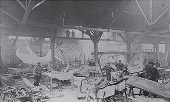 <p>'Constructing the Statue of Liberty, 1882.' Photo by Albert Fernique.</p>