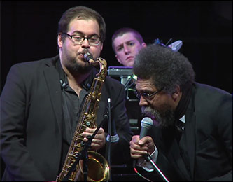 <p>Cornel West and L&igrave;vio Almeida, Courtesy of the Brooklyn College Television Center</p>