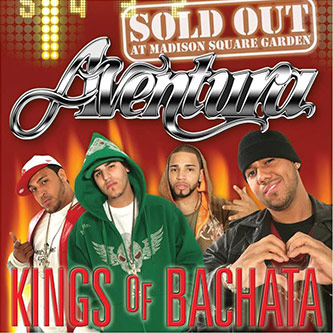 <p>Figure 2: CD cover for Aventura's <em>Kings of Bachata: Sold Out</em> at Madison Square Garden (2007). Note the hip hop fashion.</p>